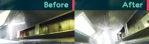 kitchen canopy cleaning - before and after cleaning by Lotus Filters