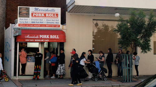 The line to Marrickville Pork Roll leading out the door